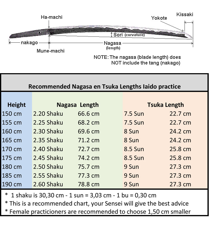 iaito length nagasa tsuka